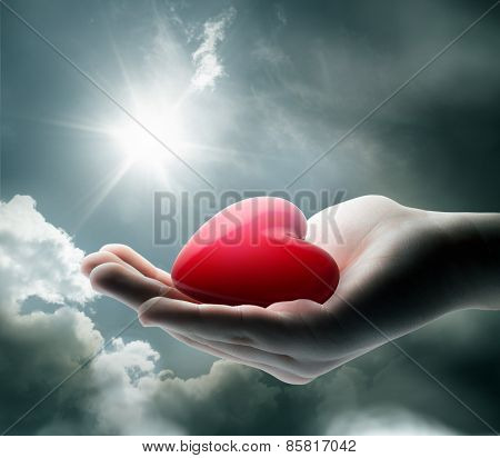 Ligth on your heart in the hand