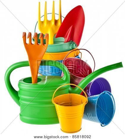 Colorful gardening tools : Watering can, bucket, spade over white background