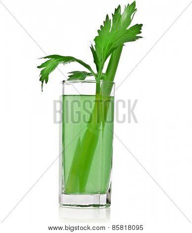 Fresh vegetable celery juice on white isolated on white background