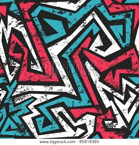 Maze Seamless Pattern With Grunge Effect