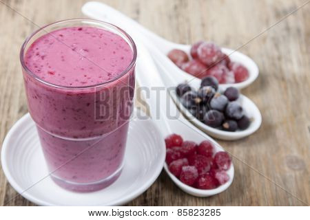 Smoothies From Frozen Black Currant, Red Currant And Gooseberry With Yogurt.