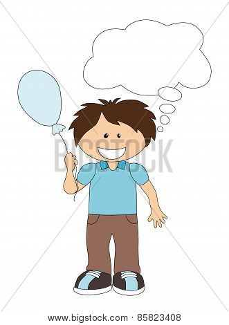 Cartoon Boy With Balloon And Speech Bubble