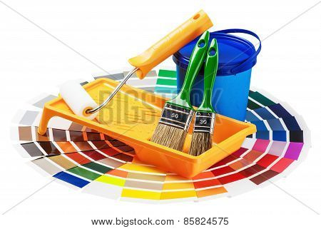Plastic Can With Paint, Roller, Brushes