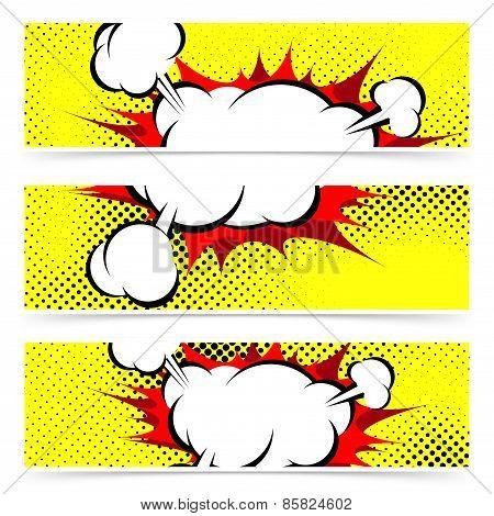 Pop Art Comic Book Explosion Steam Cloud Header Footer Collection