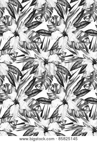 Monochrome Seamless Tropical Pattern Design