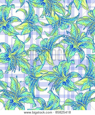 Seamless Floral Pattern With Geometry