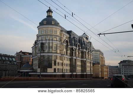 Moscow, Russia-Feb,24 2015:The building of the Main Department of the Central Bank at twilight