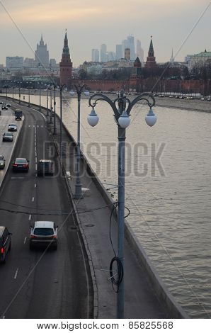 Moscow, Russia-Feb,24 2015:Embankment of the Moscow River and the Kremlin walls. Evening Landscape