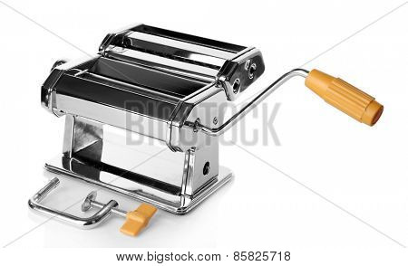 Metal pasta maker machine isolated on white