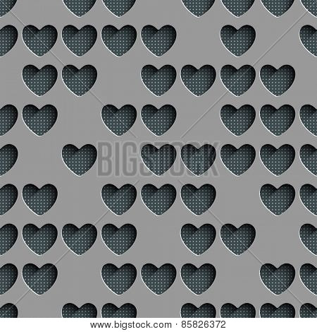 Seamless Heart Pattern. Abstract Gray Background. Vector Regular Texture