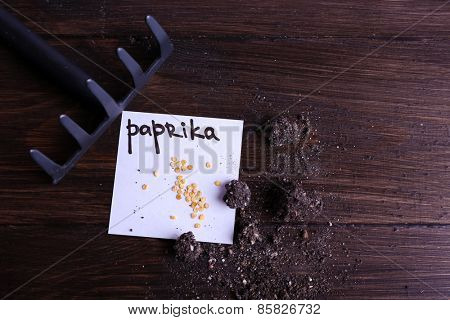Paprika seeds on piece of paper with ground and rake on wooden background