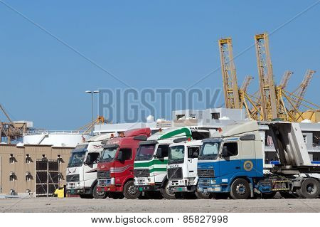 Trucks At The Industrial Port
