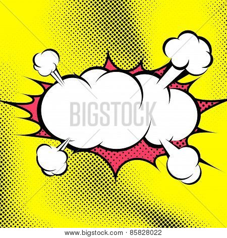 Big Retro Style Comic Book Explosion Cloud Template