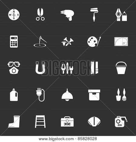 Diy Tool Icons On Gray Background
