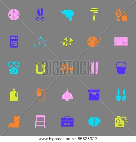 Diy Tool Color Icons On Gray Background