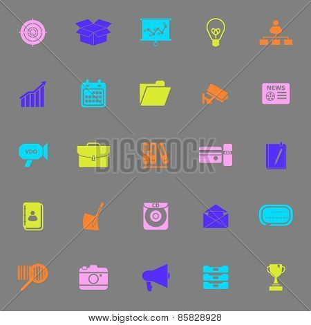 Data And Information Color Icons On Gray Background