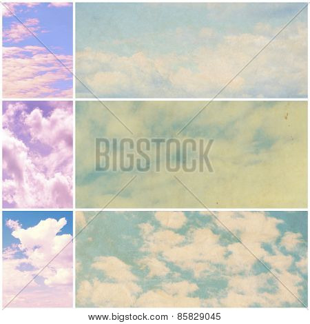 Collage of beautiful sky with clouds