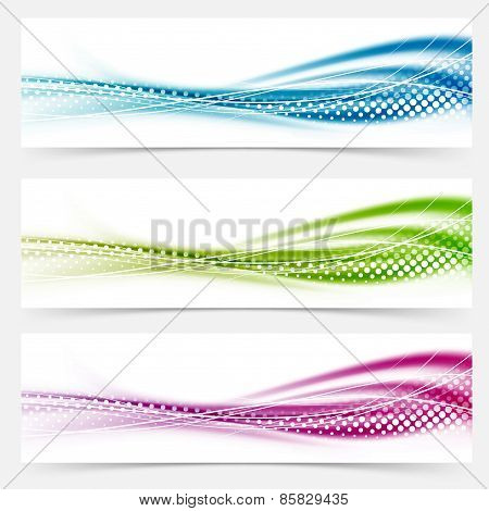Modern Abstract Swoosh Smooth Vivid Dotted Line Headers Collection
