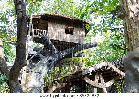 Wooden House On Fake Tree