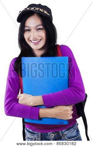 Modern College Student Isolated On White