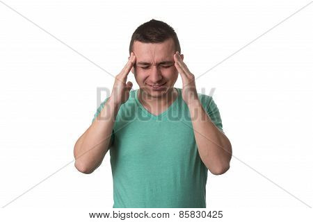 Man Having A Headache - Isolated White Background
