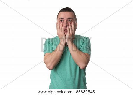 Stressed Man Covers His Face With Hands