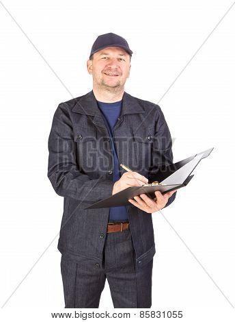 Worker writing in folder.