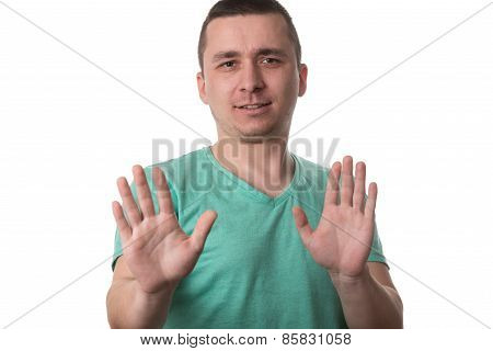 Afraid Man Gesturing Stop With Hands