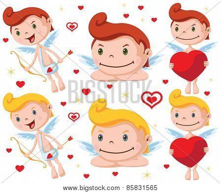 Cartoon Vector Cupid with bow, arrow and heart