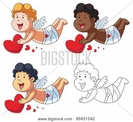Cartoon Vector Cupid with Red Heart
