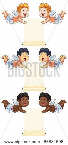 Cartoon Vector Cupids with a Message Scroll