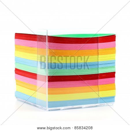 Colored Paper Stack Isolated On White Background