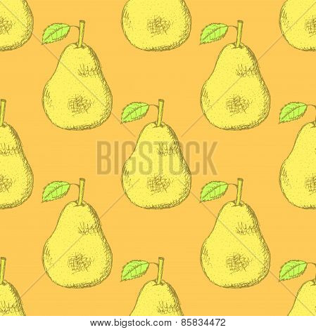 Sketch Tasty Pear In Vintage Style