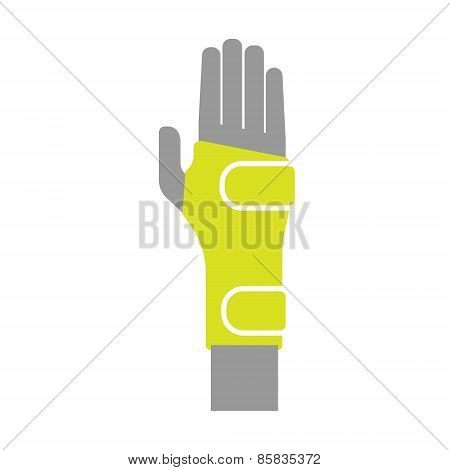 Icon of Elastic Orthopedic Compression Bandage for Wrist Isolated on White Background.