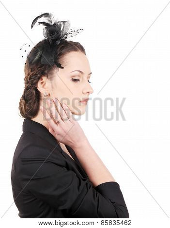 Girl with ribbon and hairstyle