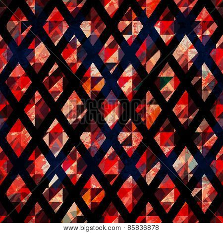 Ruby Color Mosaic Seamless Pattern With Grunge Effect