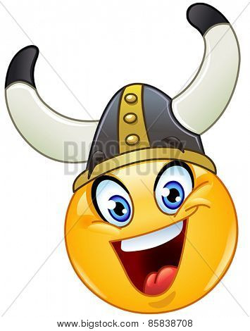 Yellow ball with a Viking helmet