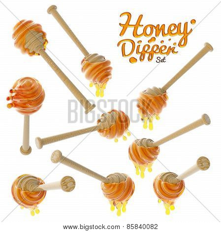 Honey dripping from a wooden honey dipper set isolated on white background
