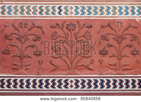 Detail Decorative Of The Jawab. Taj Mahal