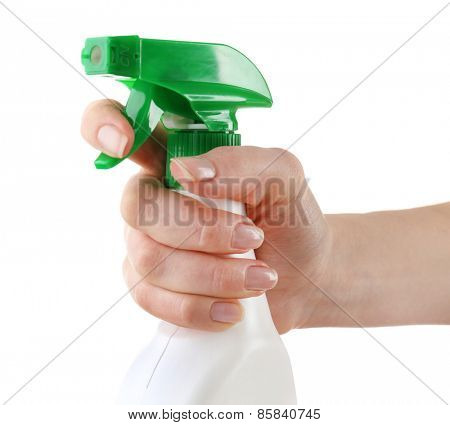 Female hand with sprayer isolated on white