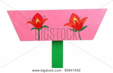 Wooden sign with flowers isolated on white