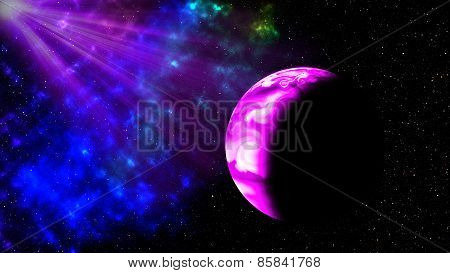 Purple Light Andt Planet In Space,