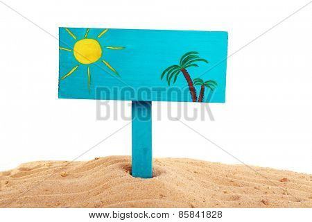 Wooden sign standing in sand isolated on white