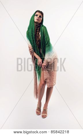 Adult Woman In Green Scarf