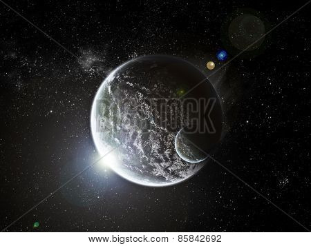 Sunrise Over Planet In Space