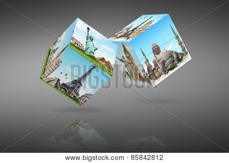 Illustration Of Cubes With Famous Monument