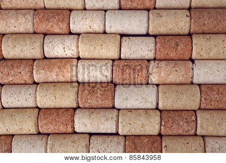 Many wine corks, macro view