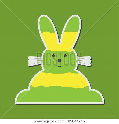 Sitting Smiling Greenish Yellow Easter Bunny
