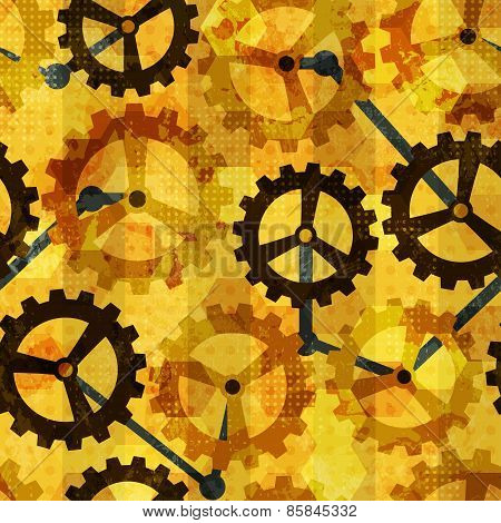 Steampunk Cogwheel Grunge Seamless