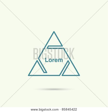 Pyramid with triangles and cuts.